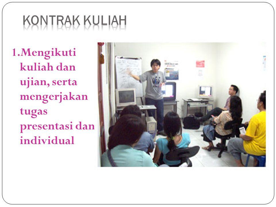 Kontrak Kuliah 1.Mengikuti kuliah dan ujian, serta mengerjakan tugas presentasi dan individual.