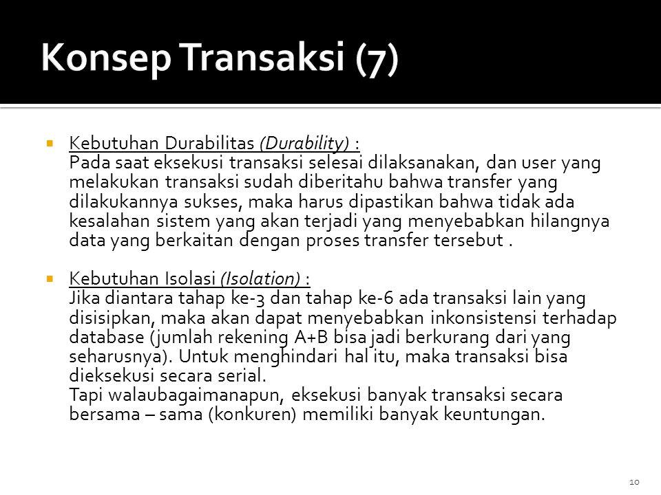 Konsep Transaksi (7) Kebutuhan Durabilitas (Durability) :