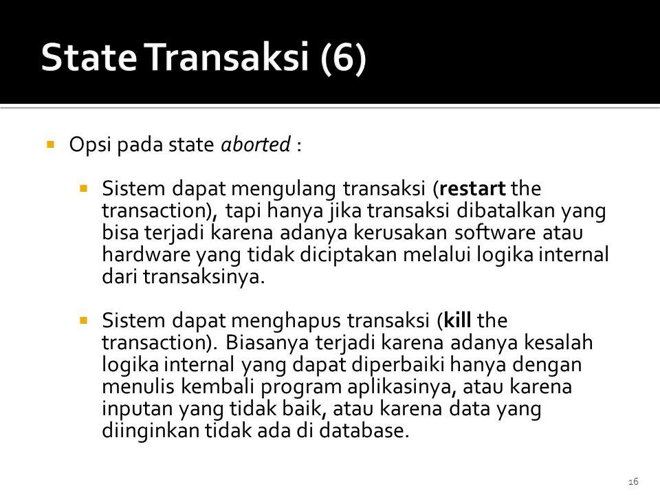 State Transaksi (6) Opsi pada state aborted :