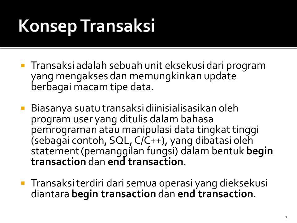 Konsep Transaksi Transaksi adalah sebuah unit eksekusi dari program yang mengakses dan memungkinkan update berbagai macam tipe data.