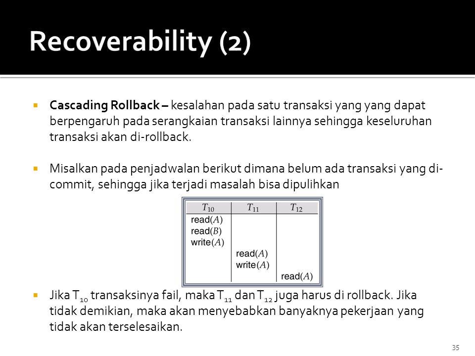 Recoverability (2)