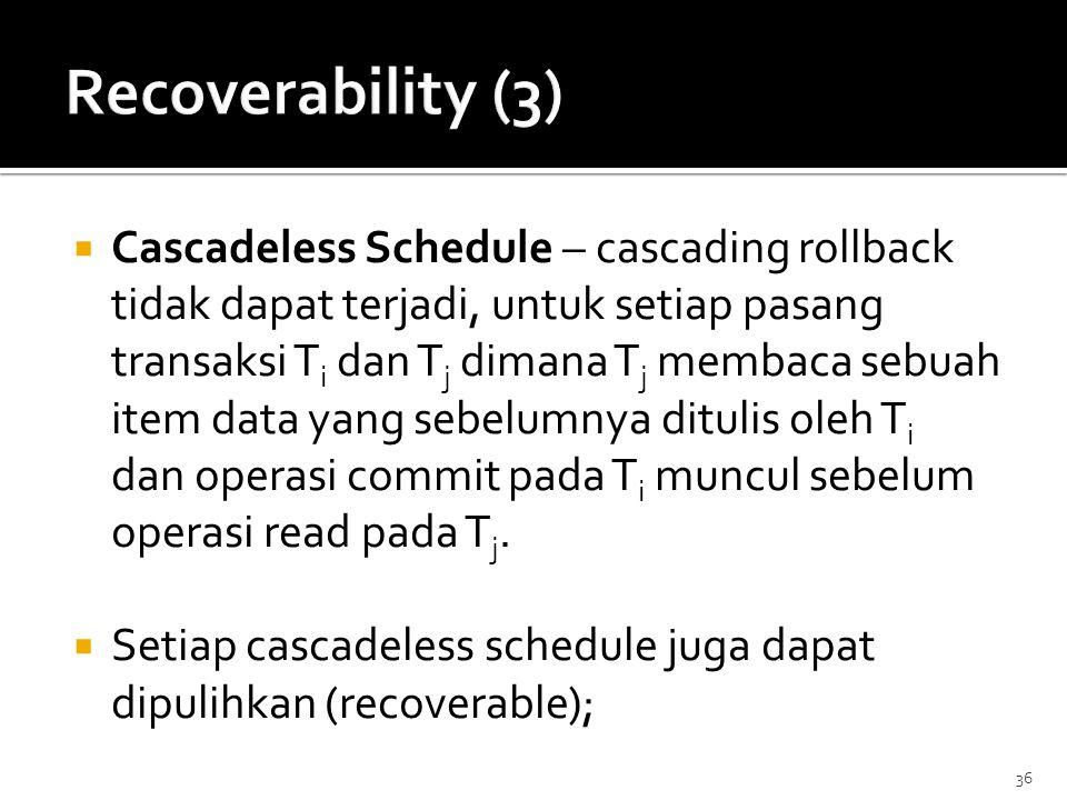 Recoverability (3)