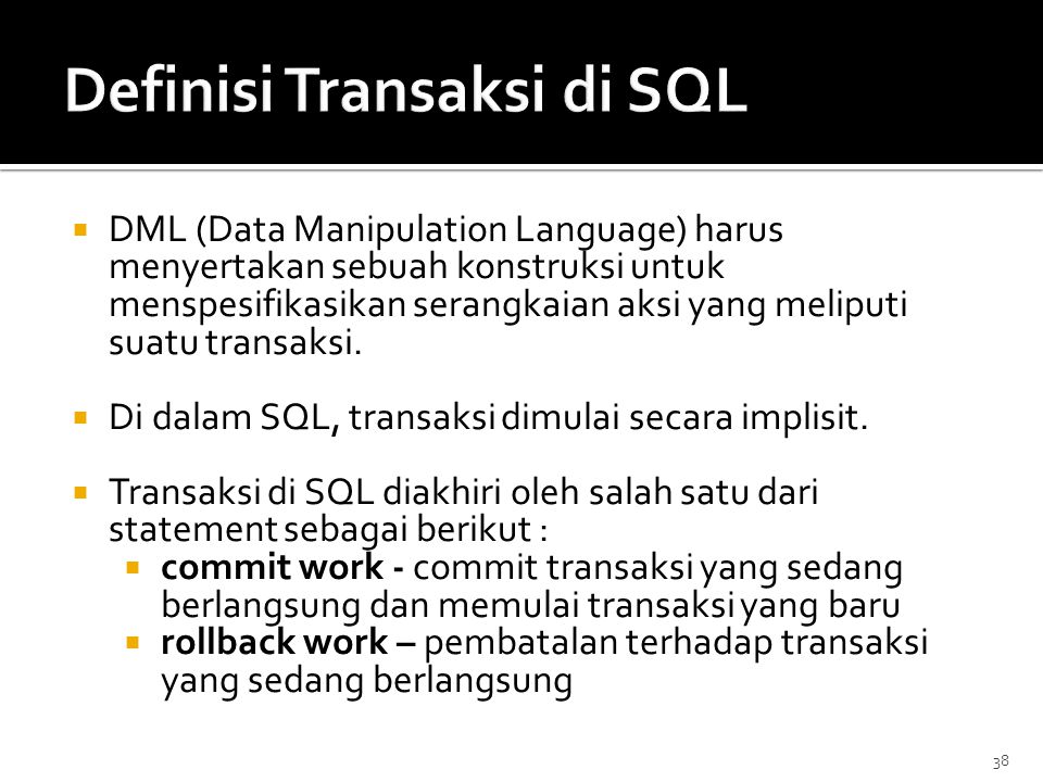 Definisi Transaksi di SQL