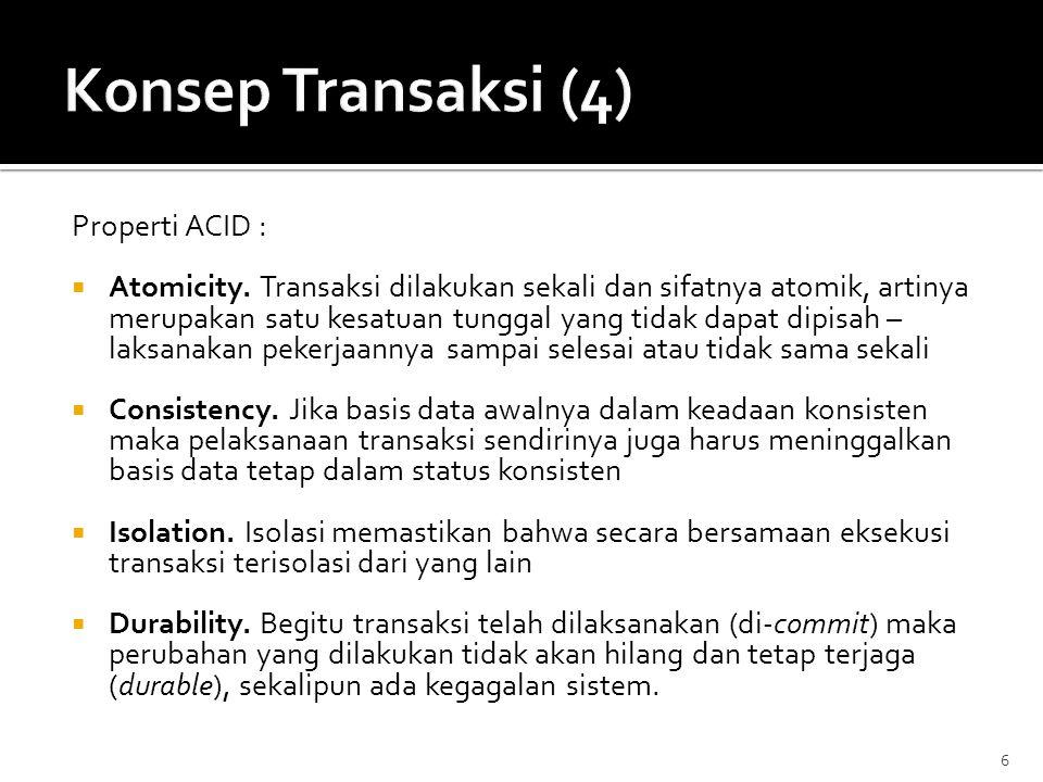 Konsep Transaksi (4) Properti ACID :