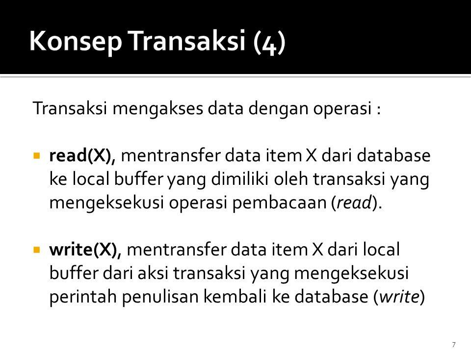 Konsep Transaksi (4) Transaksi mengakses data dengan operasi :