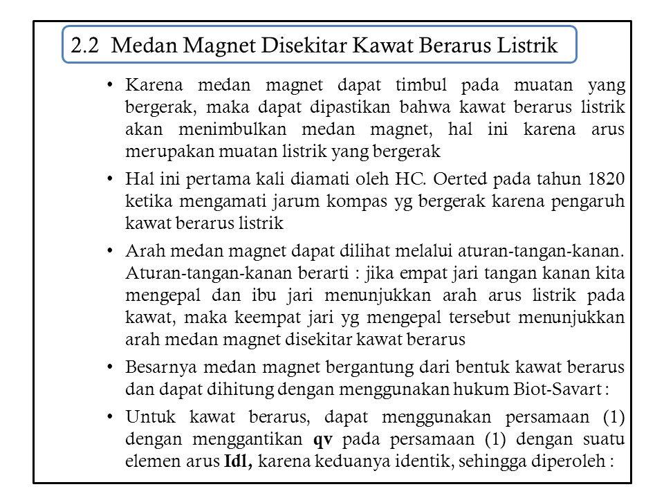 2.2 Medan Magnet Disekitar Kawat Berarus Listrik