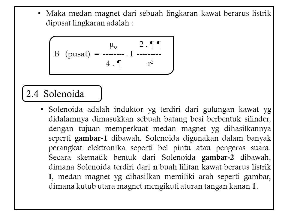 Maka medan magnet dari sebuah lingkaran kawat berarus listrik dipusat lingkaran adalah :