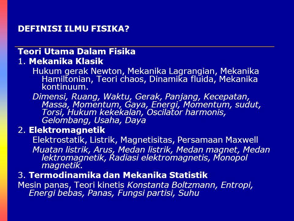 DEFINISI ILMU FISIKA Teori Utama Dalam Fisika. 1. Mekanika Klasik.