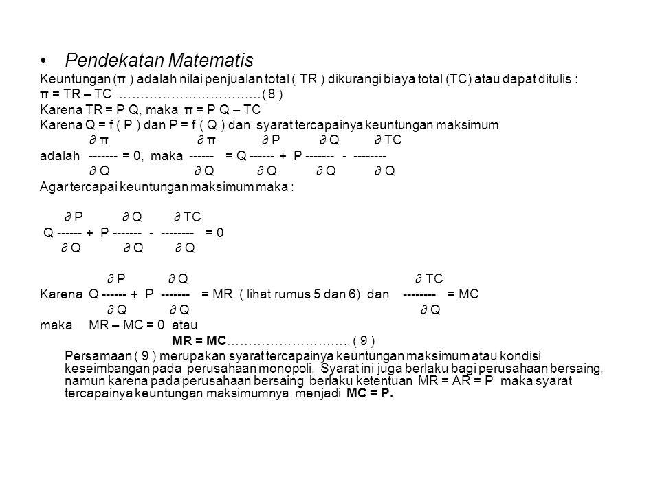Pendekatan Matematis Keuntungan (π ) adalah nilai penjualan total ( TR ) dikurangi biaya total (TC) atau dapat ditulis :