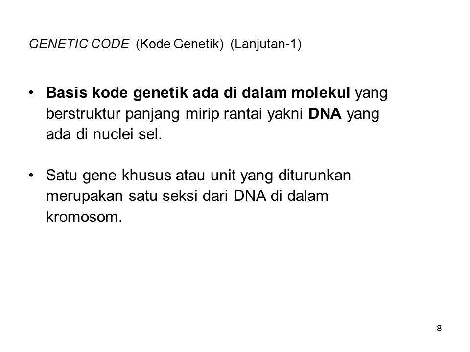 GENETIC CODE (Kode Genetik) (Lanjutan-1)