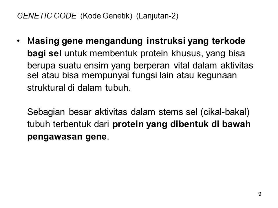 GENETIC CODE (Kode Genetik) (Lanjutan-2)