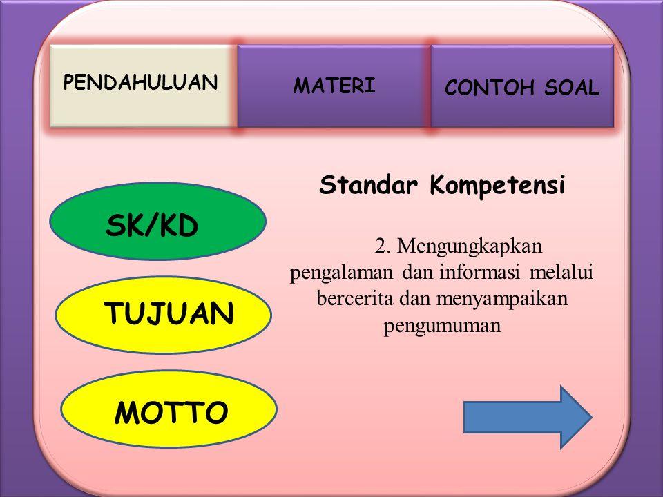 SK/KD TUJUAN MOTTO Standar Kompetensi