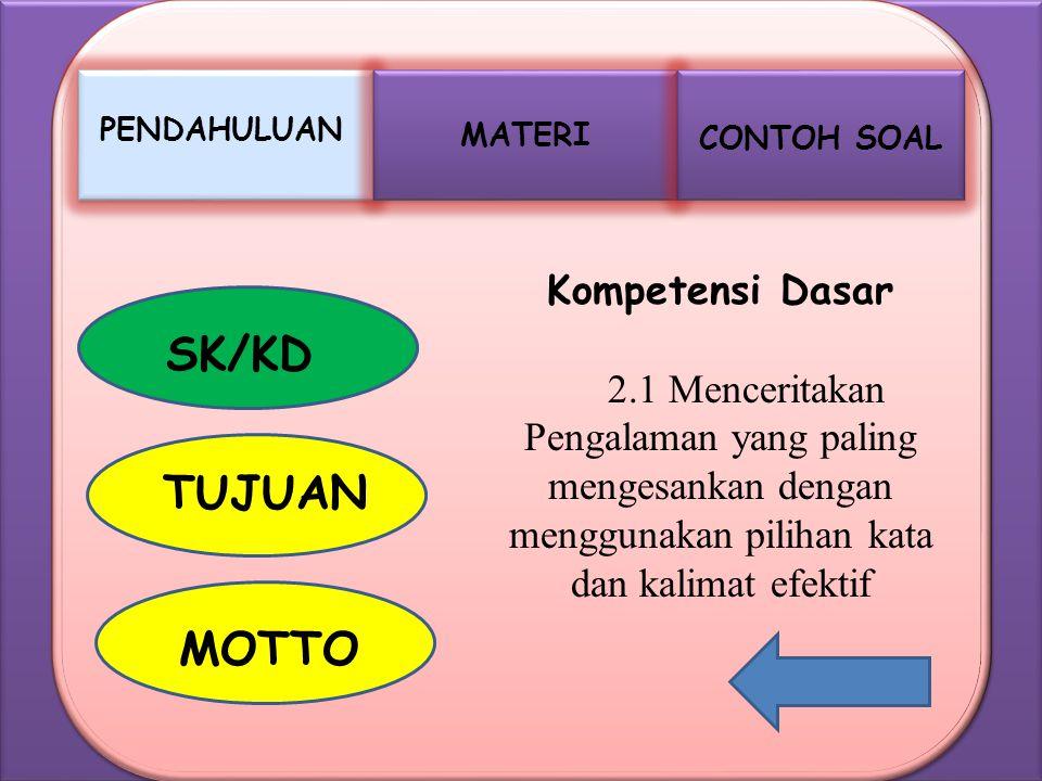 SK/KD TUJUAN MOTTO Kompetensi Dasar