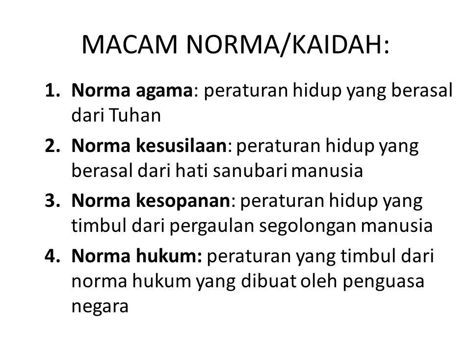 MACAM NORMA/KAIDAH: Norma agama: peraturan hidup yang berasal dari Tuhan. Norma kesusilaan: peraturan hidup yang berasal dari hati sanubari manusia.