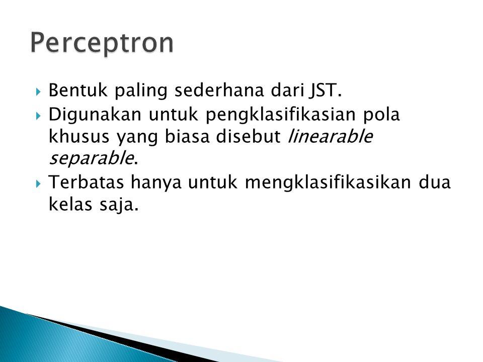 Perceptron Bentuk paling sederhana dari JST.