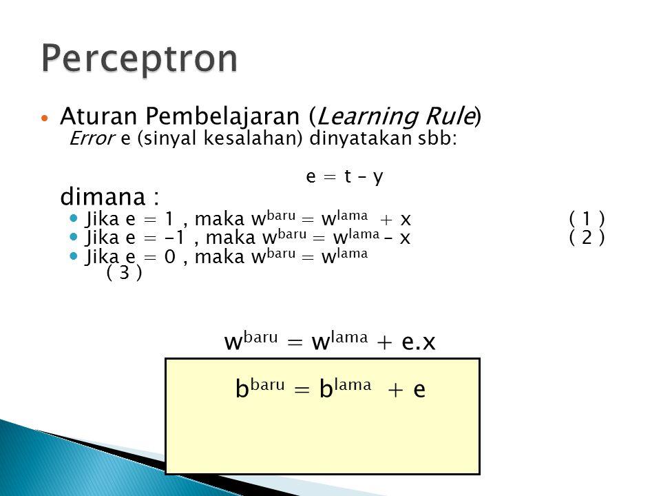 Perceptron Aturan Pembelajaran (Learning Rule) dimana :