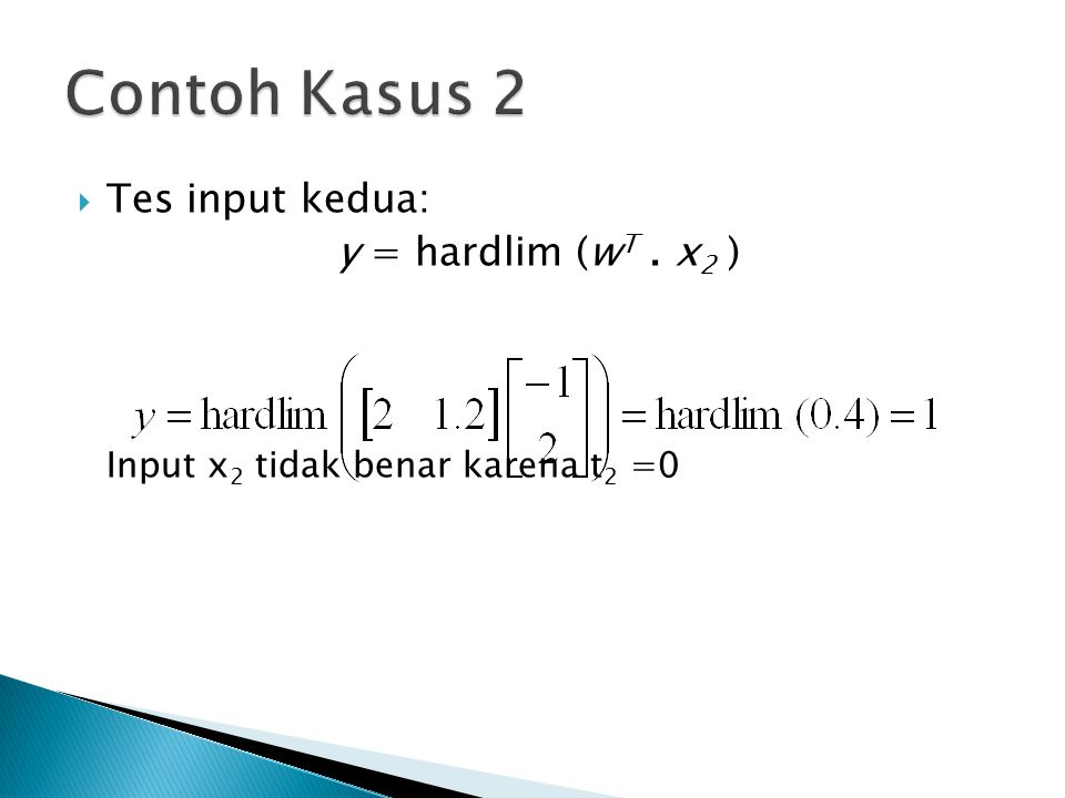 Contoh Kasus 2 Tes input kedua: y = hardlim (wT . x2 )