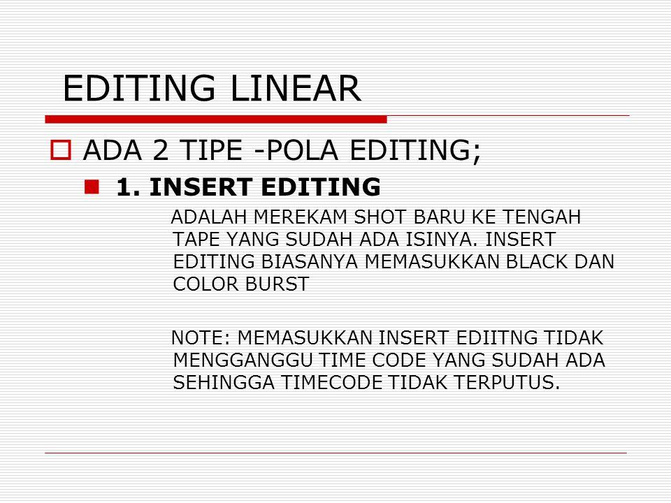 EDITING LINEAR ADA 2 TIPE -POLA EDITING; 1. INSERT EDITING
