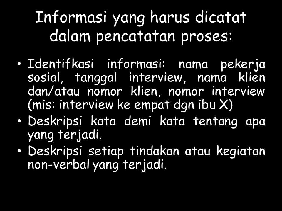 Informasi yang harus dicatat dalam pencatatan proses: