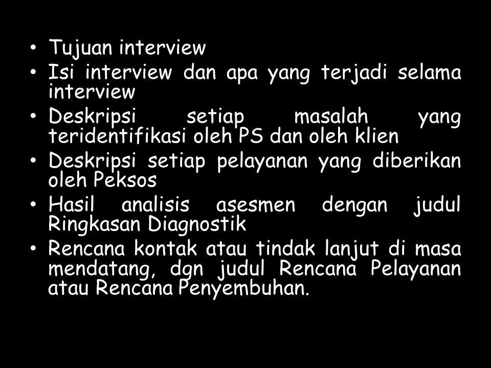 Tujuan interview Isi interview dan apa yang terjadi selama interview. Deskripsi setiap masalah yang teridentifikasi oleh PS dan oleh klien.