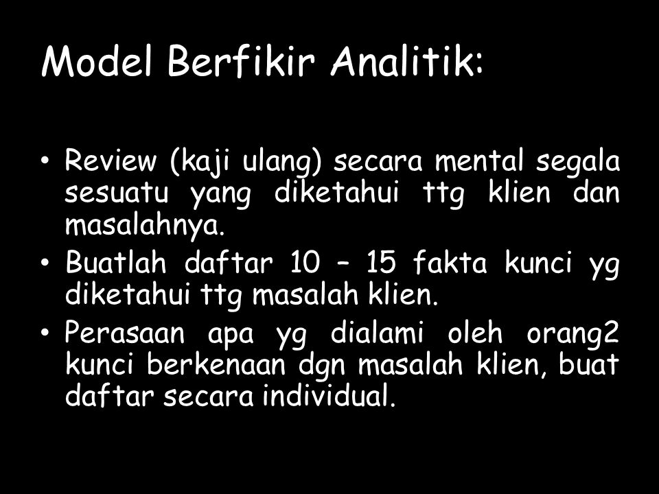 Model Berfikir Analitik: