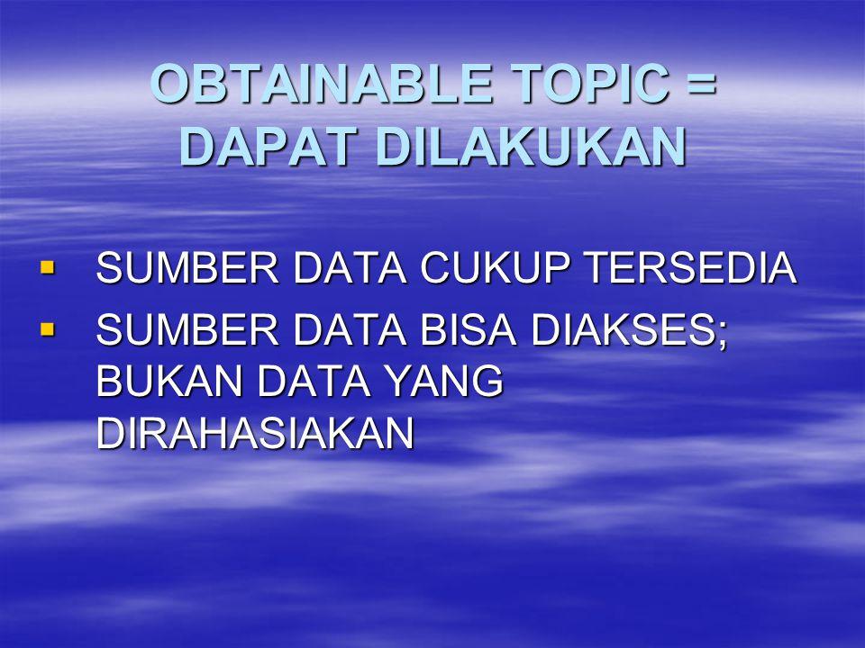 OBTAINABLE TOPIC = DAPAT DILAKUKAN