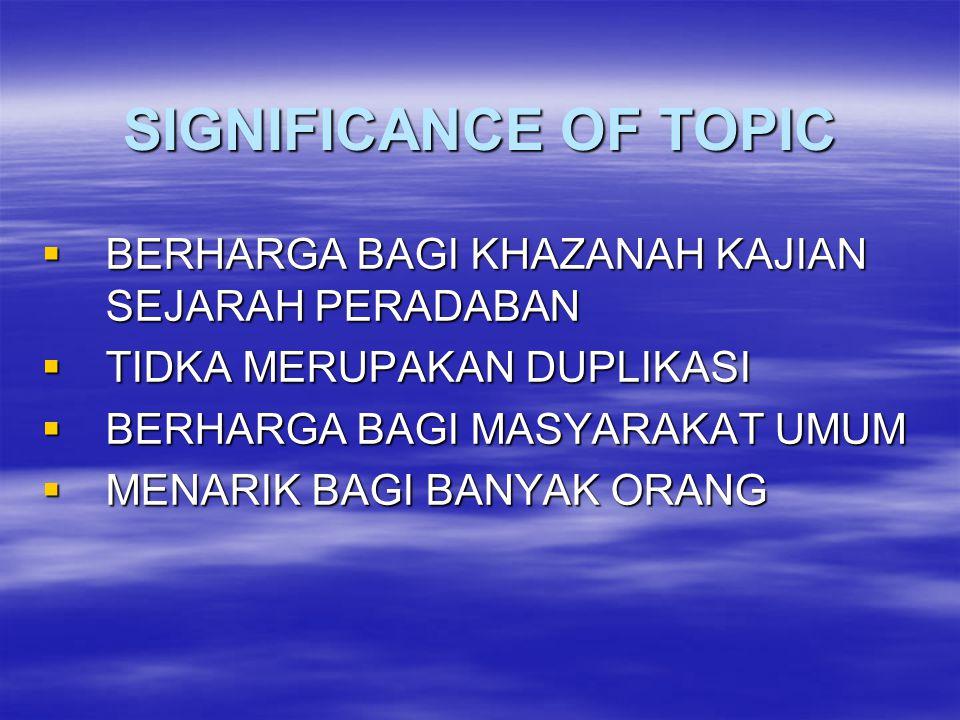 SIGNIFICANCE OF TOPIC BERHARGA BAGI KHAZANAH KAJIAN SEJARAH PERADABAN