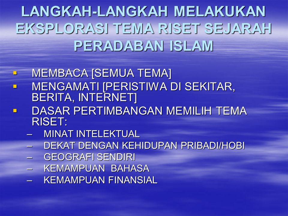 LANGKAH-LANGKAH MELAKUKAN EKSPLORASI TEMA RISET SEJARAH PERADABAN ISLAM