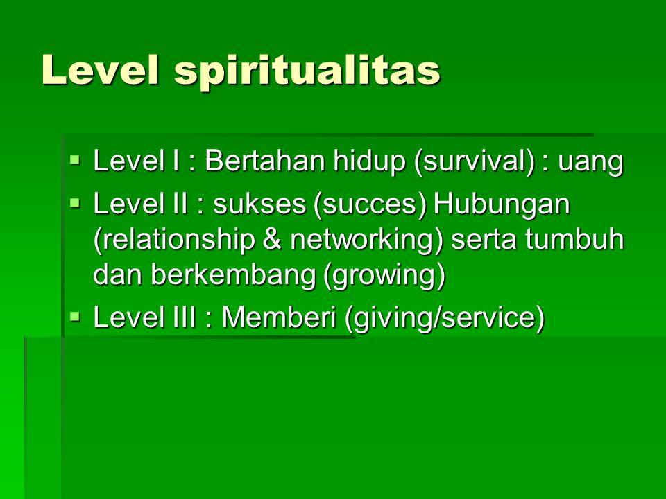 Level spiritualitas Level I : Bertahan hidup (survival) : uang