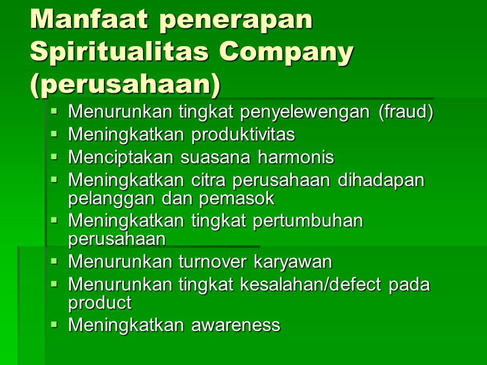 Manfaat penerapan Spiritualitas Company (perusahaan)