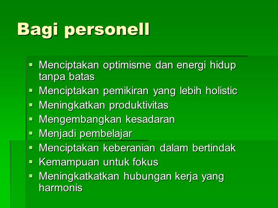 Bagi personell Menciptakan optimisme dan energi hidup tanpa batas