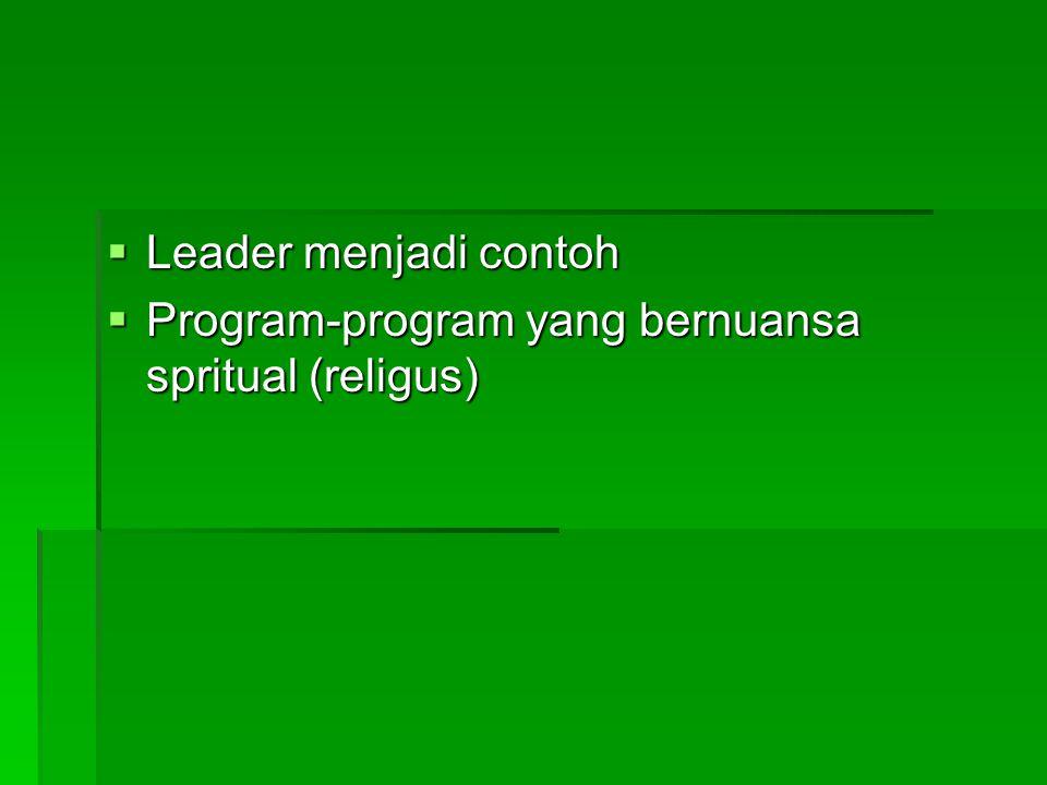 Leader menjadi contoh Program-program yang bernuansa spritual (religus)