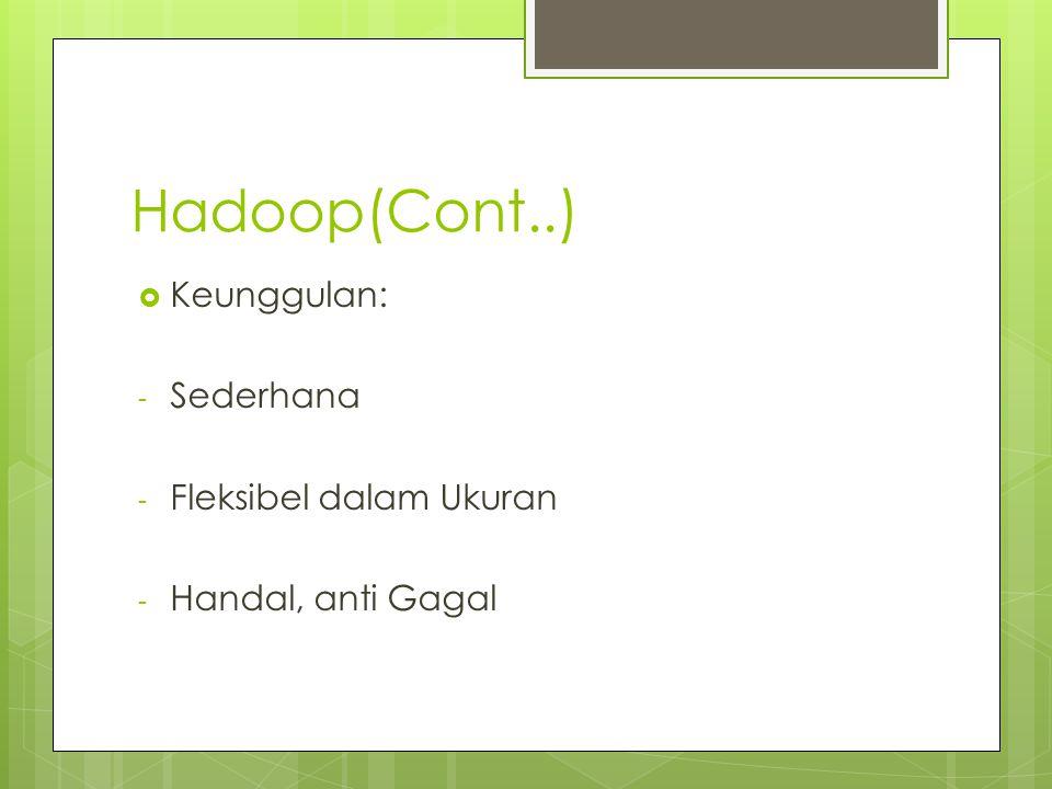Hadoop(Cont..) Keunggulan: Sederhana Fleksibel dalam Ukuran