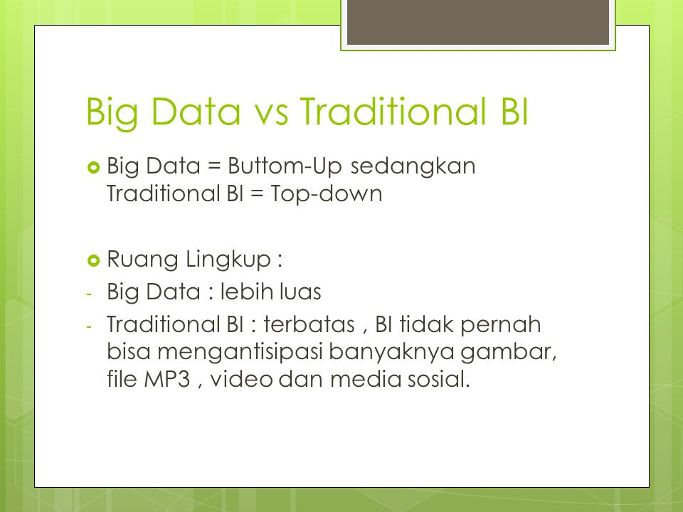 Big Data vs Traditional BI