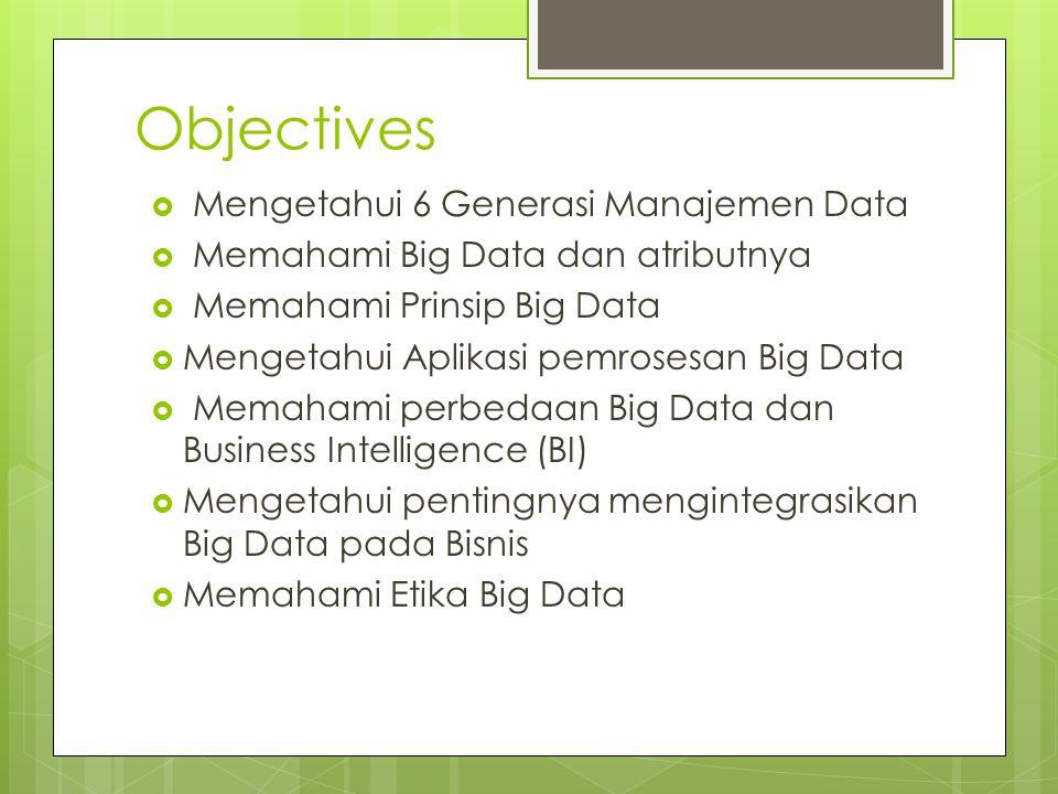 Objectives Mengetahui 6 Generasi Manajemen Data