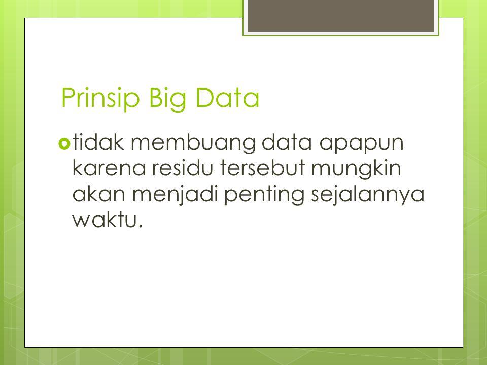 Prinsip Big Data tidak membuang data apapun karena residu tersebut mungkin akan menjadi penting sejalannya waktu.