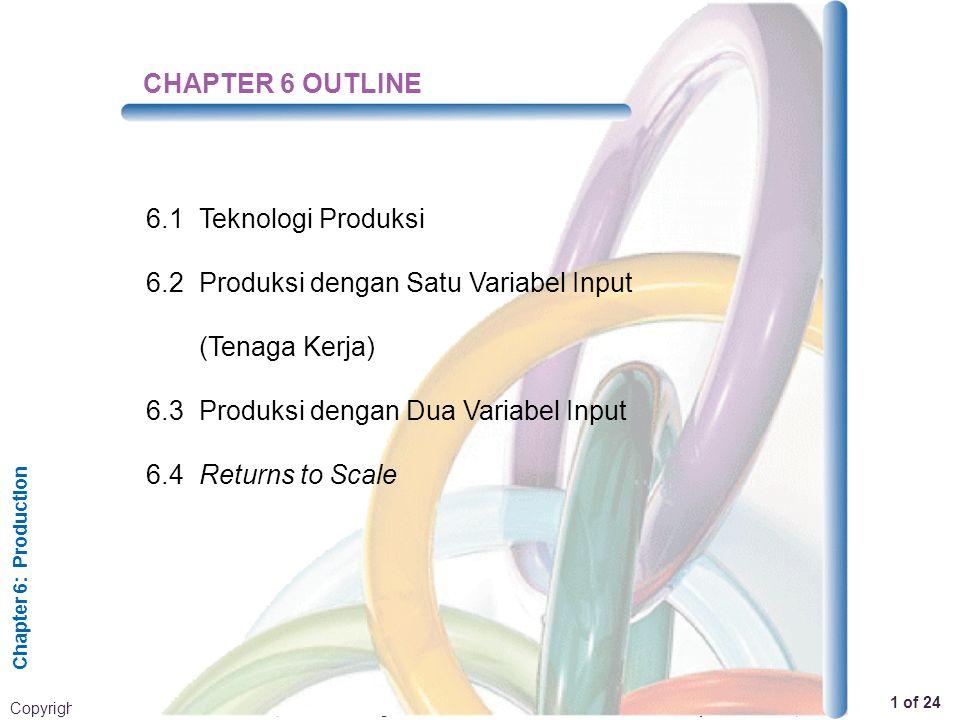 CHAPTER 6 OUTLINE 6.1 Teknologi Produksi. 6.2 Produksi dengan Satu Variabel Input (Tenaga Kerja) 6.3 Produksi dengan Dua Variabel Input.