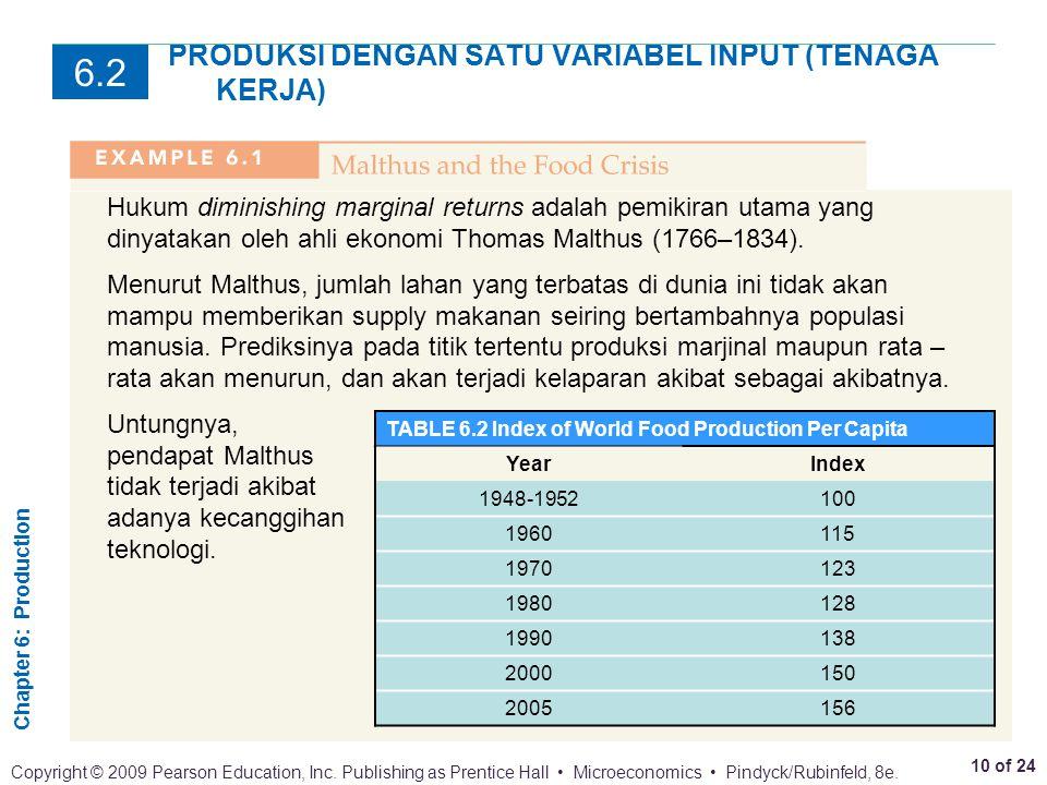 PRODUKSI DENGAN SATU VARIABEL INPUT (TENAGA KERJA)