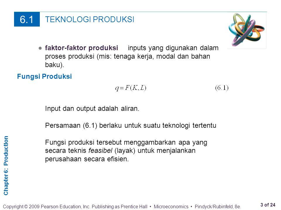 6.1 TEKNOLOGI PRODUKSI. ● faktor-faktor produksi inputs yang digunakan dalam proses produksi (mis: tenaga kerja, modal dan bahan baku).