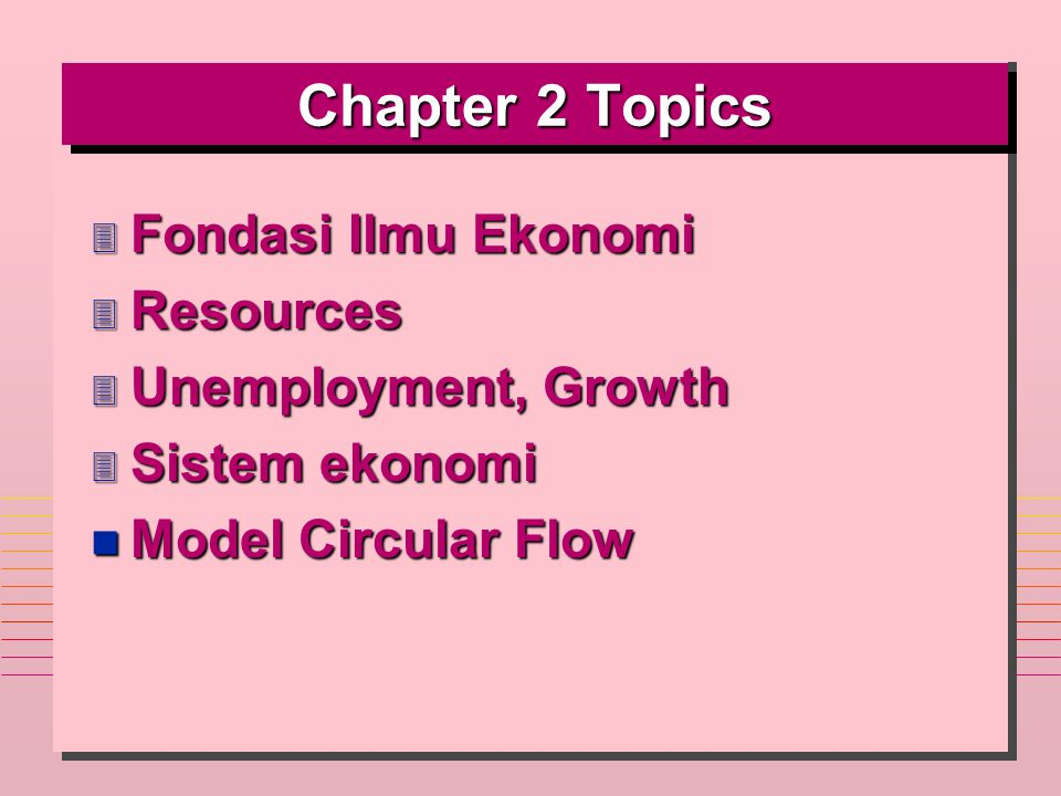 Chapter 2 Topics Fondasi Ilmu Ekonomi Resources Unemployment, Growth