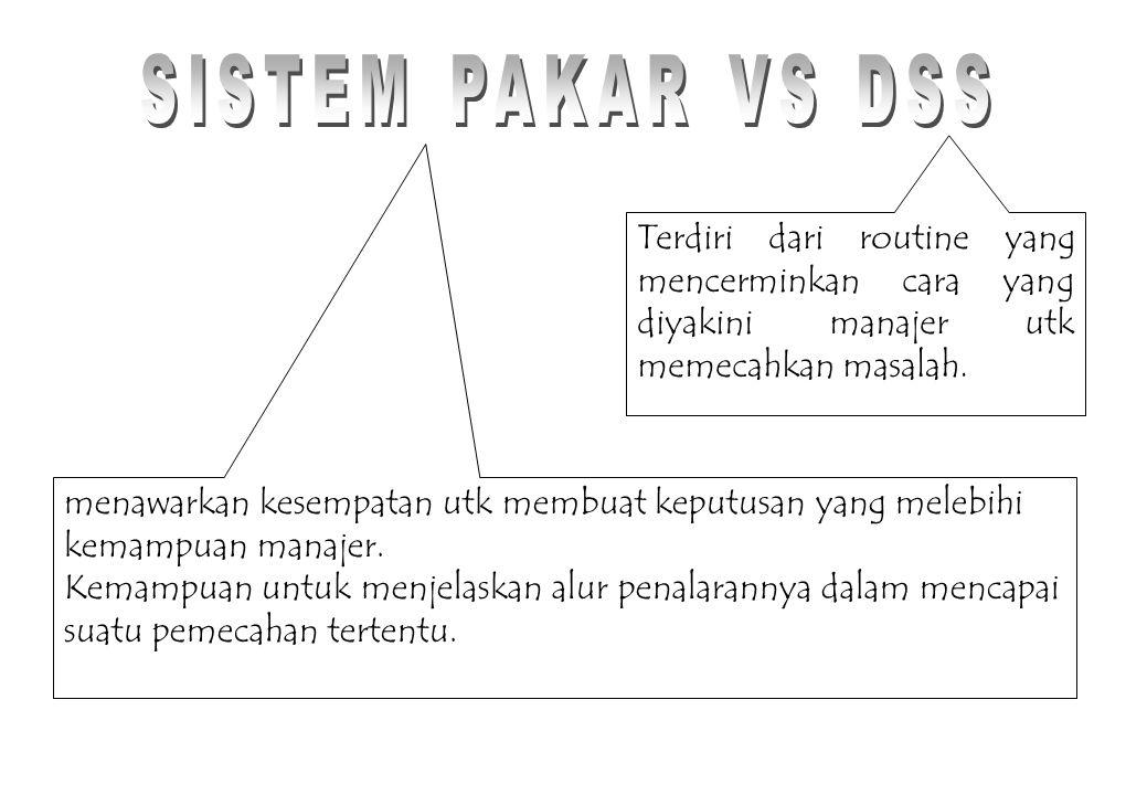 SISTEM PAKAR VS DSS Terdiri dari routine yang mencerminkan cara yang diyakini manajer utk memecahkan masalah.