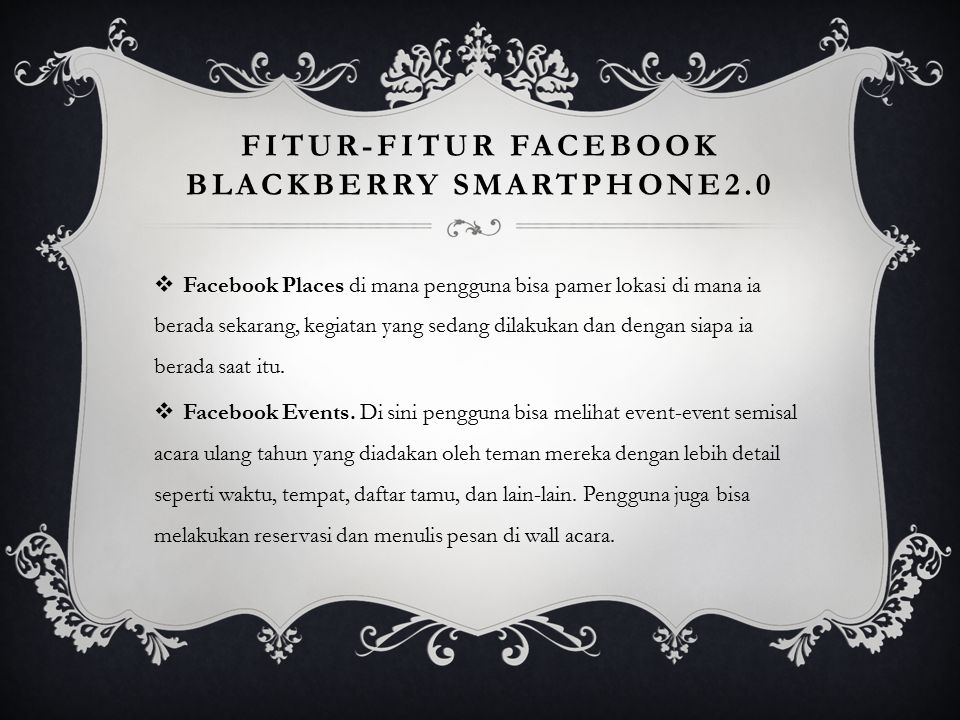 Fitur-fitur facebook blackberry smartphone2.0