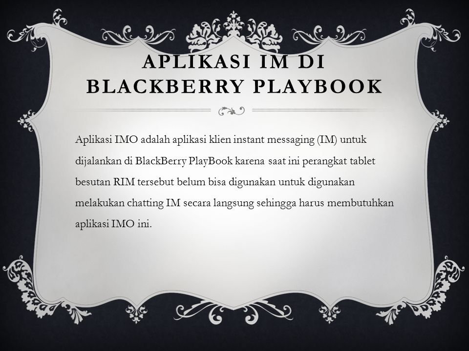 aplikasi IM di BlackBerry PlayBook