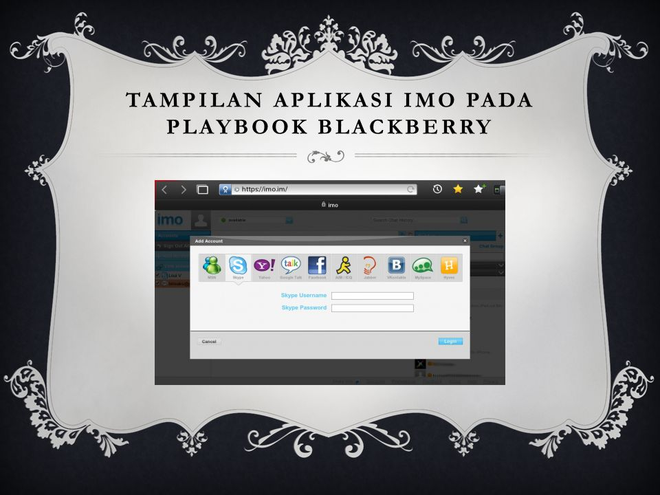 Tampilan aplikasi IMO pada playbook blackberry