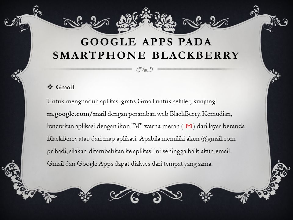 Google Apps pada smartphone BlackBerry