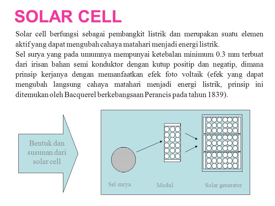 Bentuk dan susunan dari solar cell