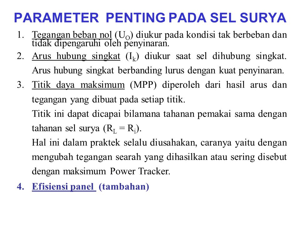 PARAMETER PENTING PADA SEL SURYA