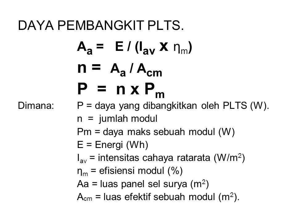 n = Aa / Acm P = n x Pm DAYA PEMBANGKIT PLTS. Aa = E / (Iav x ηm)