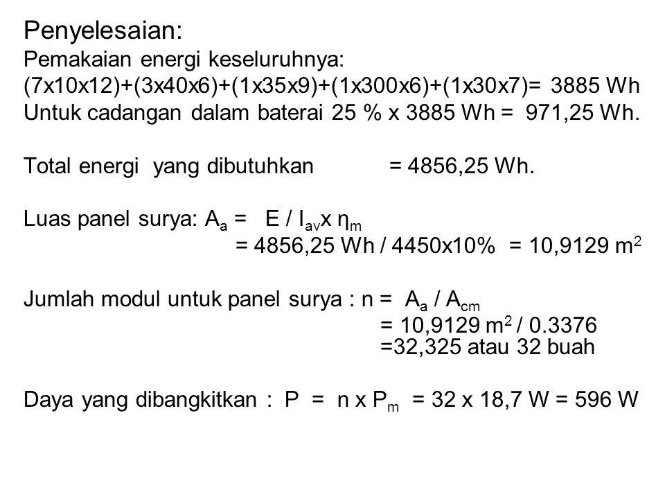 Penyelesaian: Pemakaian energi keseluruhnya: