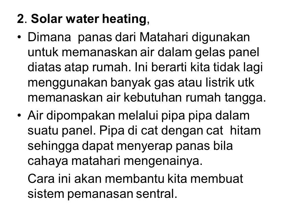 2. Solar water heating,